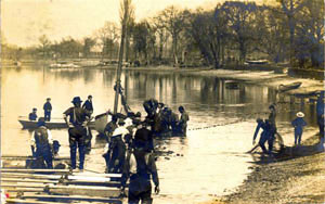 Setting nets for shad fishing, early twentieth century.