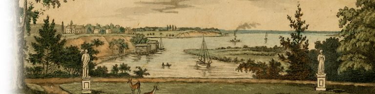 View of Bordenton, from the Gardens of the Count de Survillers. Credit: Special Collections and University Archives, Rutgers University Libraries
