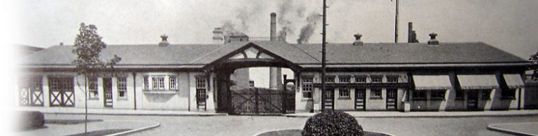 Main (#1) gate to Kinkora Works, c.1920 The gatehouse has been restored as part of the environmental remediation at the plant site and is now a museum. Credit: The Blue Center, Trentoniana Collection, Trenton Public Library