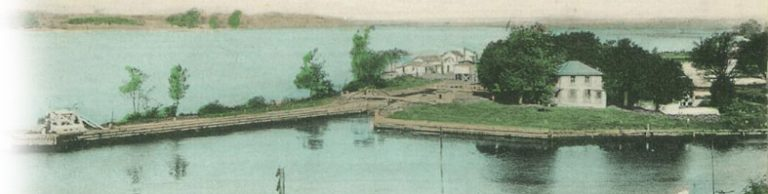 Lock #1 (Bordentown Outlet Lock) of the D&R Canal at the mouth of Corsswicks Creek, c.1910.
